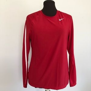 Nike Fit Dry Red w/Side White Stripe Long Sleeve